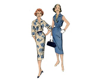 ann es 1950 shirtdress facile mod le toute l 39 ann e blouson robe sans manches manches longues. Black Bedroom Furniture Sets. Home Design Ideas