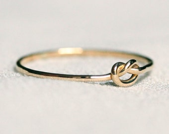 Delicate 14k Gold Pretzel Knot Ring in Solid 14k Rose or Yellow or Green or White Gold - Tiny Love Knot Ring - Thread of Gold Stack Ring