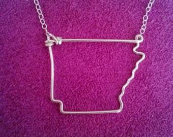 Arkansas State Necklace - Arkansas State Outline Necklace - Arkansas Necklace