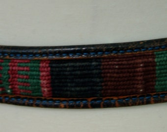 Vintage Leather BELT with Tribal Trim, 1980s