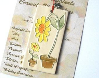 PARENT & CHILD handmade ceramic daisy ornament