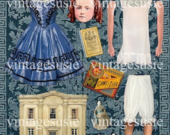 CIVIIL WAR Art Paper Doll Collage Sheet 'CONFEDERATE Child' digital download