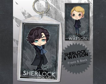 BBC Sherlock and John Keychain Double-sided