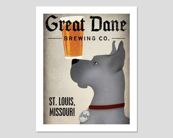 GREAT DANE Custom - Personalized - Great Dane Brewing Company graphic art giclee print SIGNED