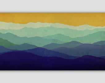 Mountain Memories Illustration - Smoky / Green - Mountains  Stretched Canvas Panel 10x30x1.5 inches Ready to Hang Wall Art
