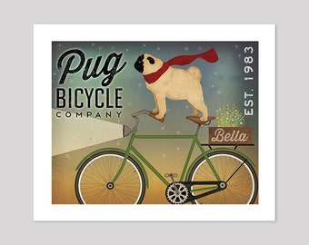 FREE Personalization PUG Bicycle Co. ILLUSTRATION Print inches signed