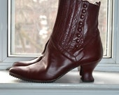 Vintage 80s - Oxblood Leather Edwardian Goth Boots - 6/6.5 - Peter Fox