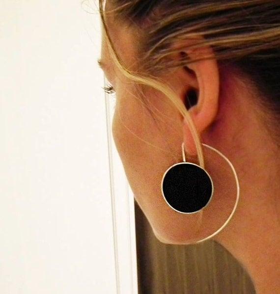 Big Silver Earrings,Long Sterling Silver Earrings, Big Statement Silver Resin Earrings - Big Oh Earrings