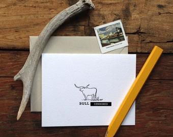 LIT-230 bull sh%! letterpress greeting card mature