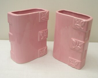 Vintage Pair Mid Centrury Modern Pink Vases