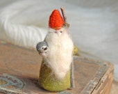 Gnome With Hedgehog, Waldorf Inspired, Needle Felted, Green Wool