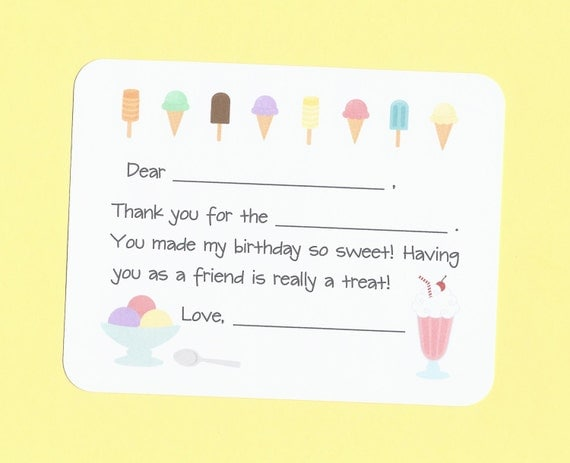 Free Children S Birthday Thank You Notes ~ Ice cream cones thank you cards fill in the blanks