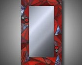 MADE TO ORDER Funky Red Stained Glass Mosaic Mirror, 10 x 16, Handmade by DeMaris Gaunt