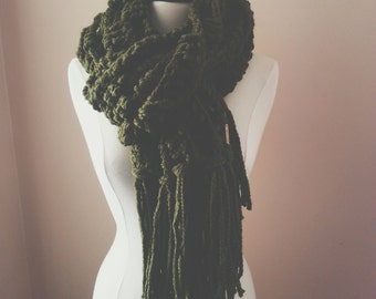 the pacific scarf // Chunky Cowl Wrap Shawl Scarf With Fringe // cilantro