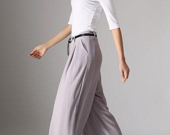 grey pants, wild leg pants, wide leg trousers, summer pants, Chiffon pants, maxi pants (977)