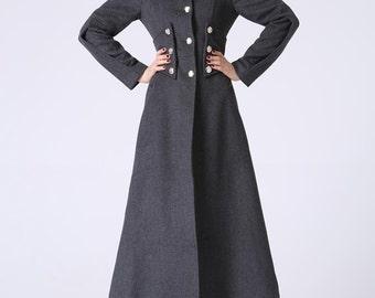 long wool coat, Military coat, Long coat, Wool coat, Winter Coat, Gray coat,  trench coat, cashmere coat, Womens coat, maxi coat, Gift 1063