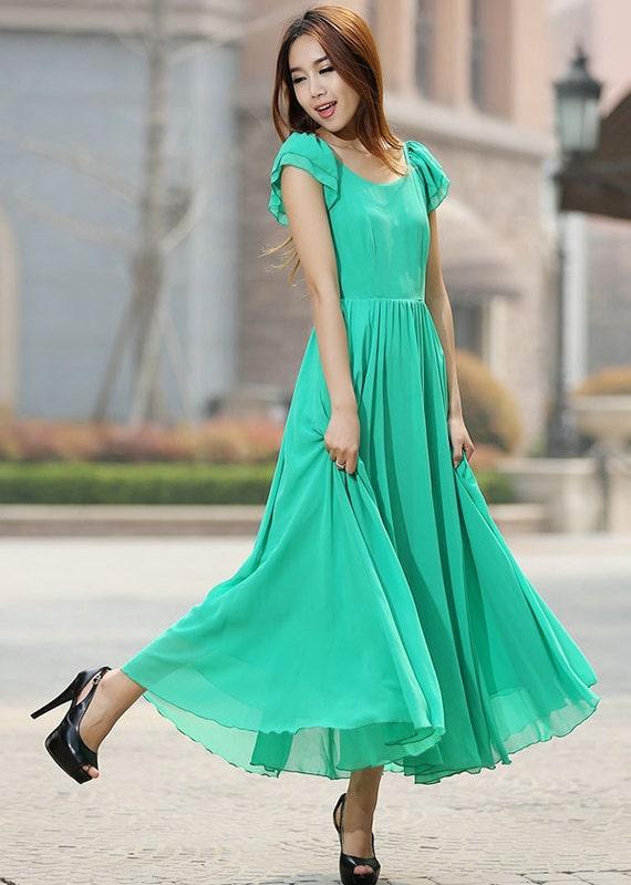 Green chiffon maxi wedding dress party dress (922)