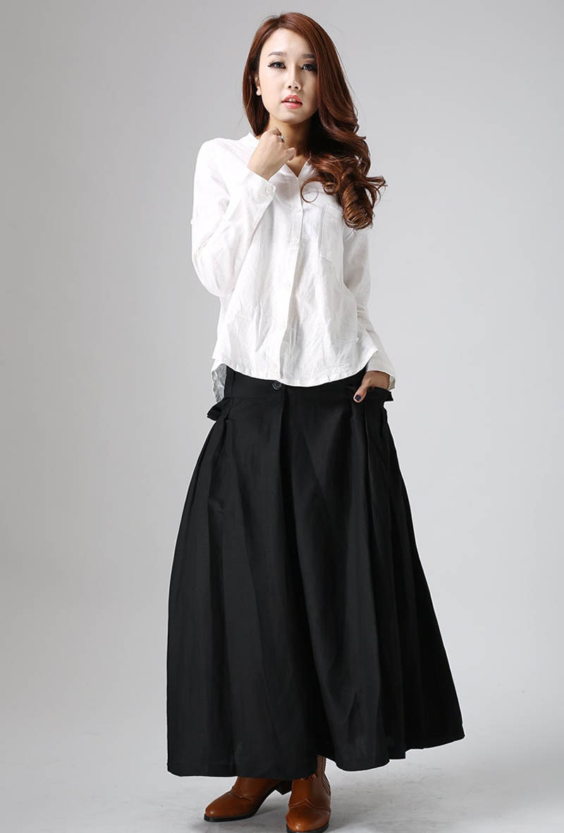 Long Black Pleated Skirt