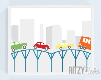 Boys Cars Nursery Art Cityscape Print - City Truck Taxi Driving Kids Playroom, Baby, Buildings, New York City, Rooftop, Skyline, Modern