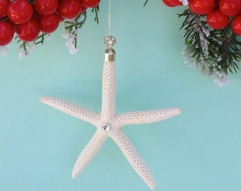 "Starfish Beach Ornament - Starfish Christmas Ornament with Swarovski Crystals - 4""-5"""