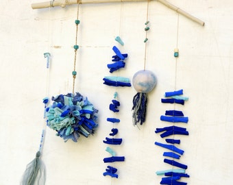 Sea mobile, nursery baby room decor, blue fabric and felt hanging mobile, Made to order