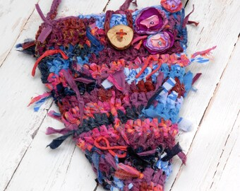 Blue, purple and pink crochet rag purse --- Fairy rag bag with flowers --- OOAK --- Triangle bag --- TAGT team