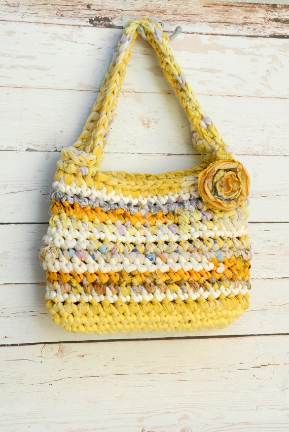 Bright Colors Rag Bag --- upcycled Recycled Fabric Crocheted Purse --- Yellow and White --- Tagt Team