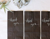 20 White and Black Calligraphy Favor Bags