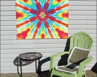 Rainbow Tye Dye Mandala Tapestry OOAK Tie Dye Wall Hanging SALE