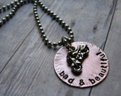 Harley Davidson Motorcycle Hand-Stamped Necklace, Motorcycle Necklace - Motorcycle Babe