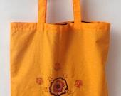 Orange Floral Embroidered Tote Bag