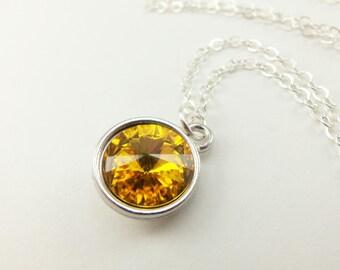 Sunflower Pendant Necklace Sterling Silver Yellow Pendant Crystal Rivoli