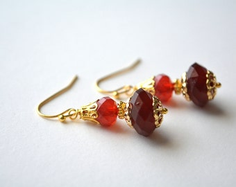 Red Ombre Earrings Beaded Gold Dangle Earrings Cherry Red