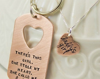 Daddy Daughter gift Set, Custom Dogtag keychain and necklace for Father and Daughter, Daddy's Girl