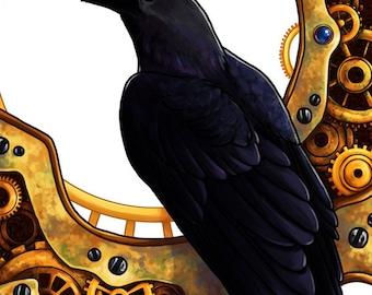 Clockwork Crow | Bird Art | Animal Art Print | Steampunk Art | 8x10