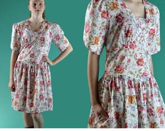 90s Floral Dress / Drop Waist Dress Mini Puff Sleeve 80s Full Skirt Drop Waist Boho Summer Vintage Pink Floral Mini Skater Dress M