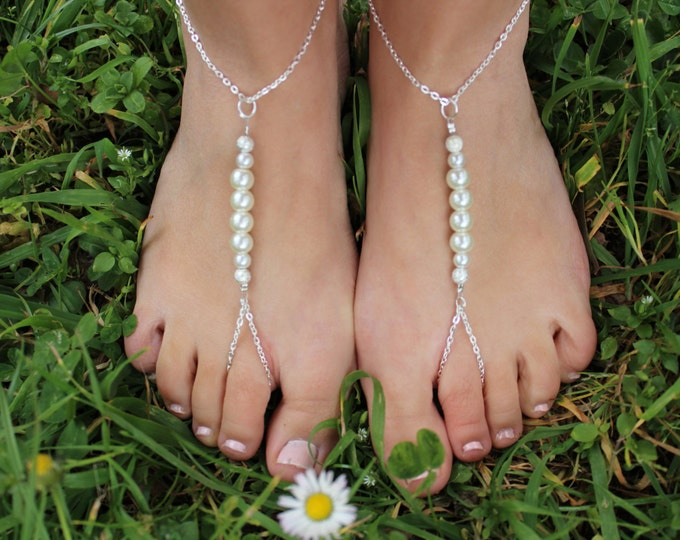 Bridal Barefoot Sandals, Beach Wedding Jewelery.
