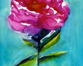 Peony -  Watercolor Painting - Abstract Floral - Pink - Turquoise - Bright - Illustration - 11x14 Giclee Print - Home Decor