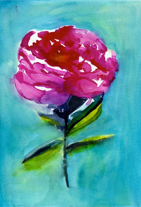 Peony Watercolor Painting Abstract Floral Pink