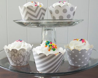 12 Grey Cupcake Wrappers - PICK YOUR PATTERN - Grey White Cupcake Wrappers - Great for Birthday Parties, Baby Showers & Wedding Receptions