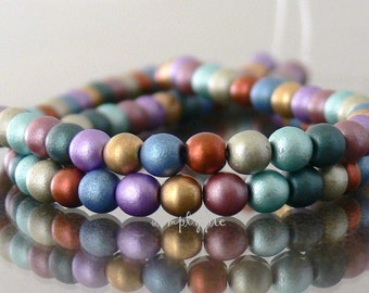 Matte Satin Mix Czech Glass Beads 4mm Druk 50 Round Metallic Beads