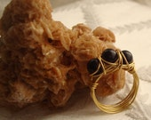 Three Black Onyx Wire Wrapped Gold Ring with Unique Design -Handmade