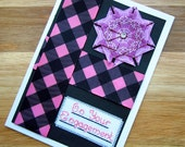 SALE!!  50% Off Original Price!!  On Your Engagement Handmade Cross Stitch Greetings Card in Pink and Black