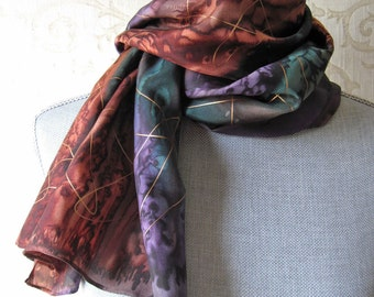 Silk Scarf Hand Painted in Brown, Plum and Green with Gold Accent