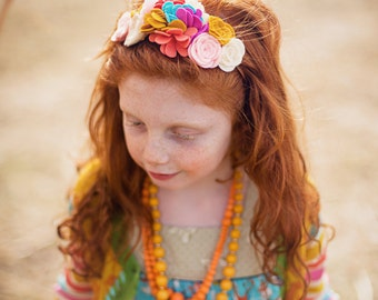 Felt Flower Headband - Matilda Jane Its a Wonderful Parade Collection Puff Mustard