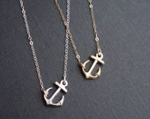 Sideways Anchor Necklace Silver Or Gold. Anchor Necklace In Sterling Silver Anchor Pendant Necklace Modern Jewelry