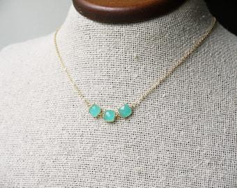 Sea Foam Green Glass Necklace Gold Mint Opal Modern Sideways