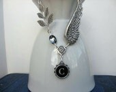 Typewriter Jewelry - Typewriter Key Necklace - Steampunk  Letter C with Wings and Sparkle