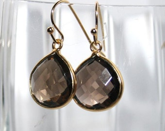Smoky Earrings Brown Quartz Earrings Smoky Gem Earrings Gemstone 14k Gold Vermeil,Gemstone Drop Earrings,Natural Quartz,Every day Jewelry