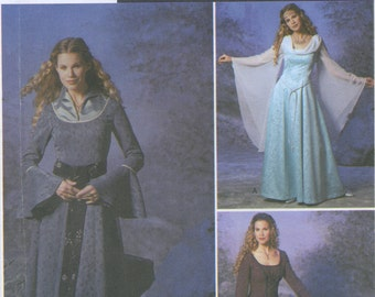 Medieval Maiden Gown, Dress Sewing Pattern Plus Size 14, 16, 18, 20 Simplicity 9891 UNCUT, Princess, Renaissance, Goth, Costume Cosplay